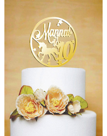 Gold Personalised Unicorn- Stars - Circle Cake Topper
