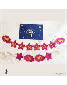 Unicorn Personalised Birthday Bunting & Cake Topper Combo