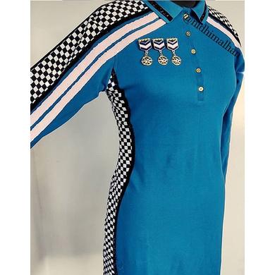 Racer Polo Dress full sleeve Blue-RPDFSB-XL