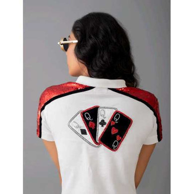 Queen of Hearts Polo (Red); Embellished Front & Back-S-1